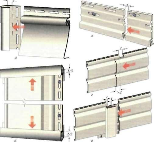 Температурные зазоры на характерных узлах виниловой обшивки